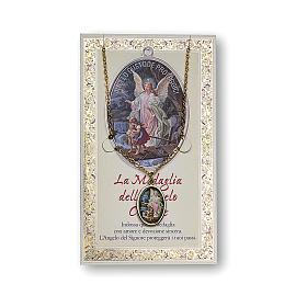 Médaille Chaîne Carte Ange Gardien Ange de Dieu ITA s1