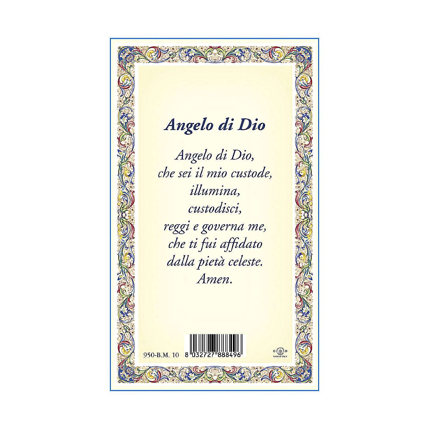 The Guardian Angel medal with chain and card with Angel of God prayer in ITALIAN 4