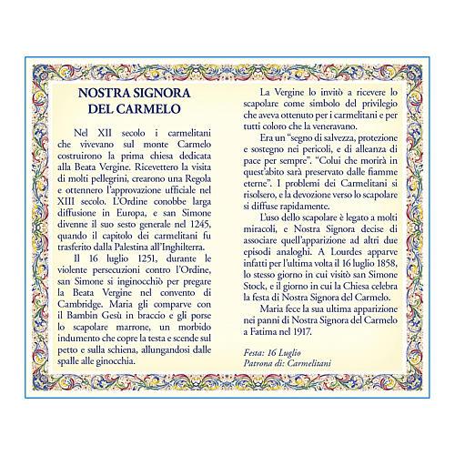 Medaglia Catenina Cartoncino Madonna del Carmelo Novena ITA 2