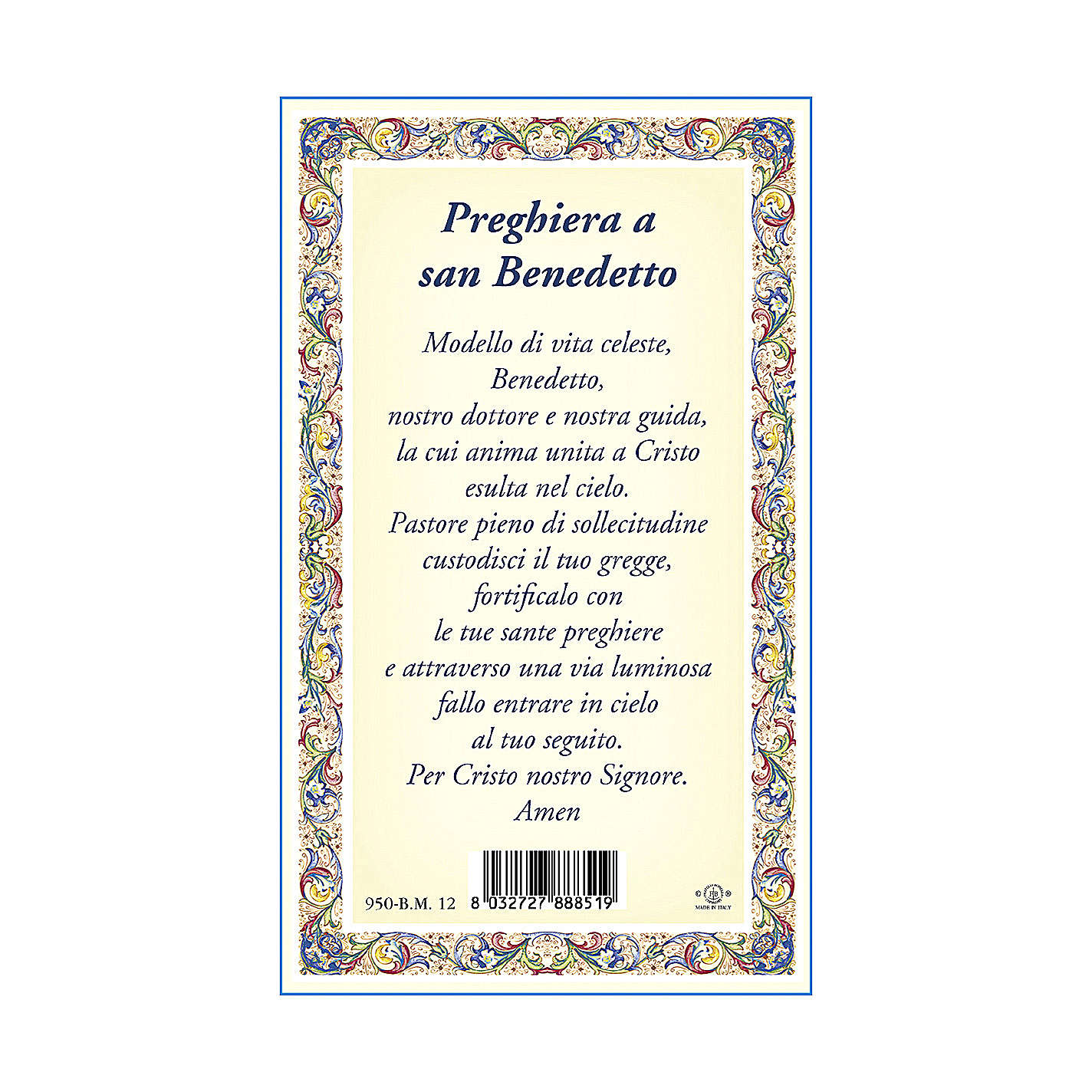 Saint Benedict medal with chain and card with prayer in ITALIAN 4