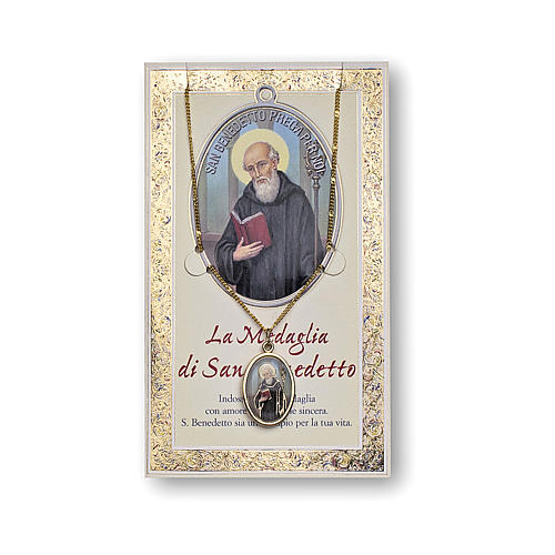 Saint Benedict medal with chain and card with prayer in ITALIAN 1