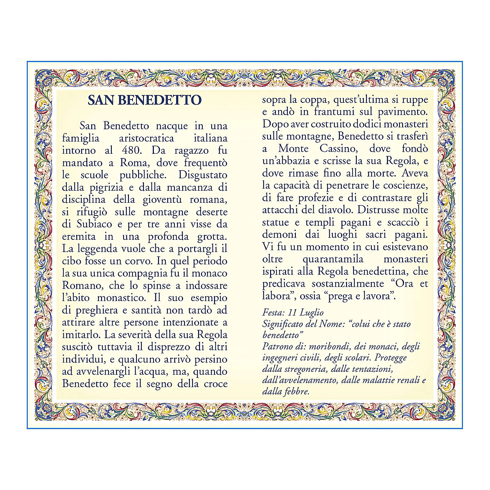 Medalla Cadena Cartulina San Benito Oración ITA 4