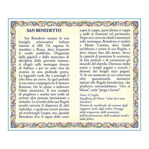 Medalla Cadena Cartulina San Benito Oración ITA 2