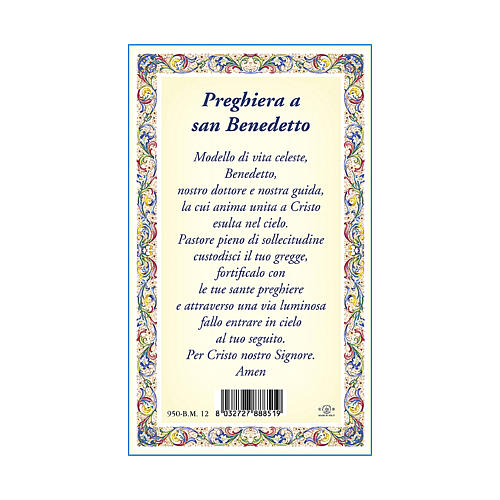 Saint Benedict medal with chain and card with prayer in ITALIAN 3