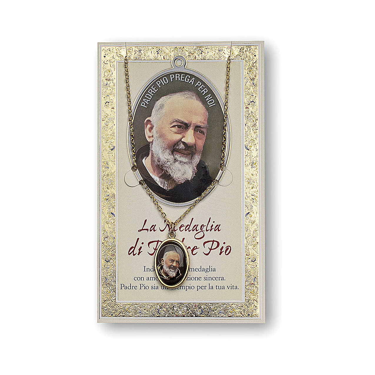 Saint Pio of Pietrelcina medal with chain and card with prayer in ITALIAN 4