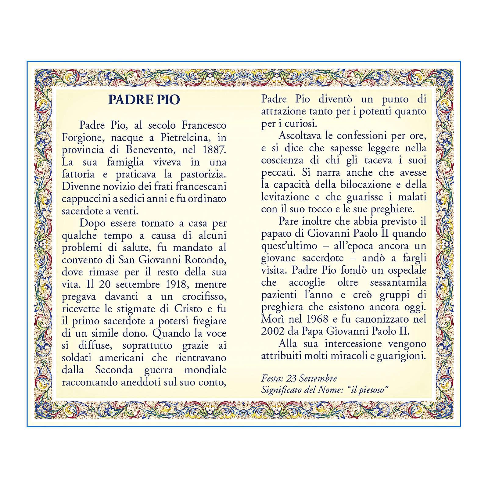 Medalla Cadena Cartulina San Pío de Pietrelcina Oración ITA 4