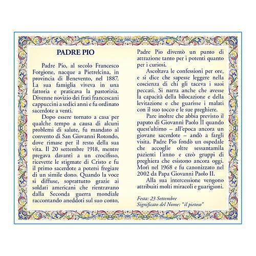 Medalla Cadena Cartulina San Pío de Pietrelcina Oración ITA 2