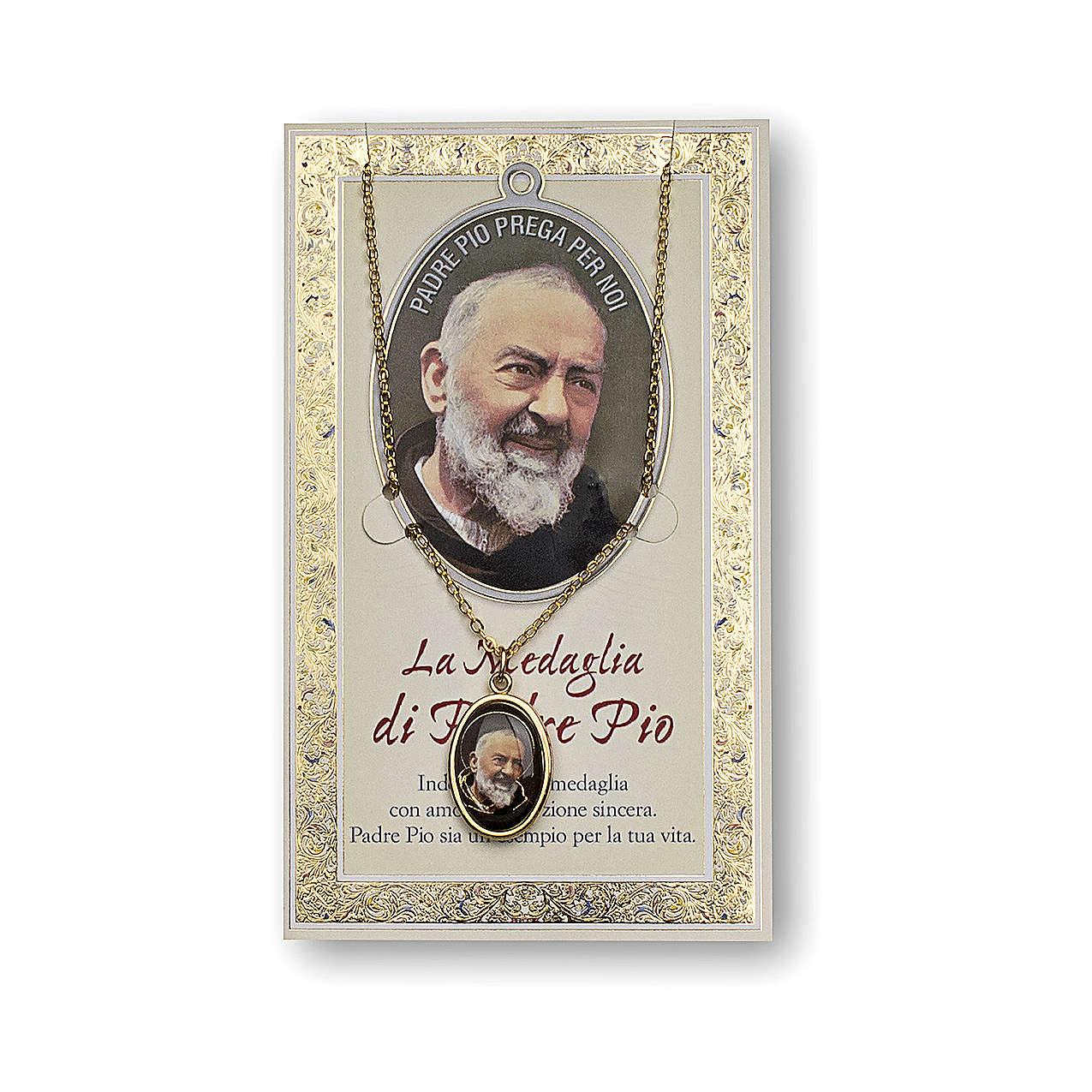 Medaglia Catenina Cartoncino San Pio da Pietrelcina Preghiera ITA 4