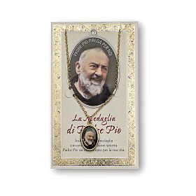 Medaglia Catenina Cartoncino San Pio da Pietrelcina Preghiera ITA s1