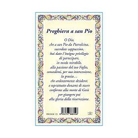 Medaglia Catenina Cartoncino San Pio da Pietrelcina Preghiera ITA s3