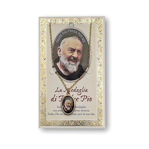 Medaglia Catenina Cartoncino San Pio da Pietrelcina Preghiera ITA 1
