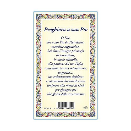 Medaglia Catenina Cartoncino San Pio da Pietrelcina Preghiera ITA 3