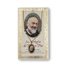 Saint Pio of Pietrelcina medal with chain and card with prayer in ITALIAN s1