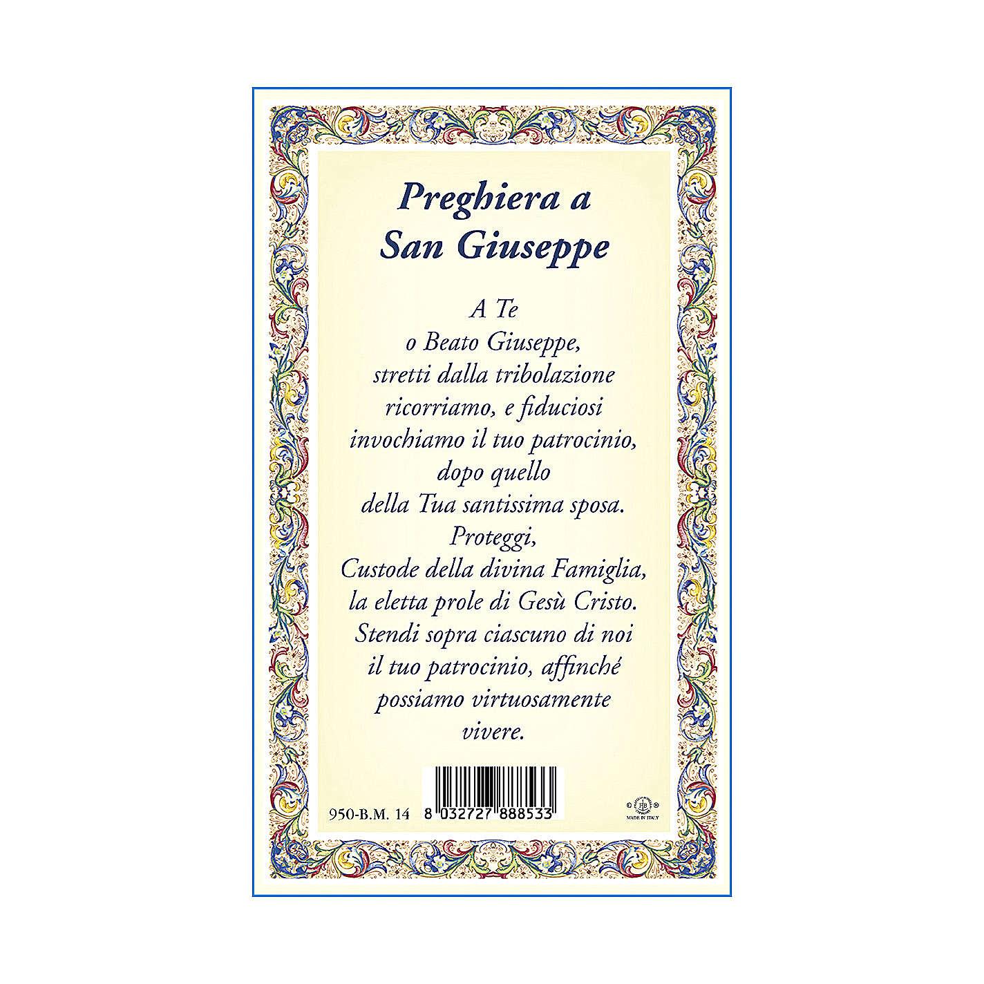 Medalla Cadena Cartulina San José Oración ITA 4