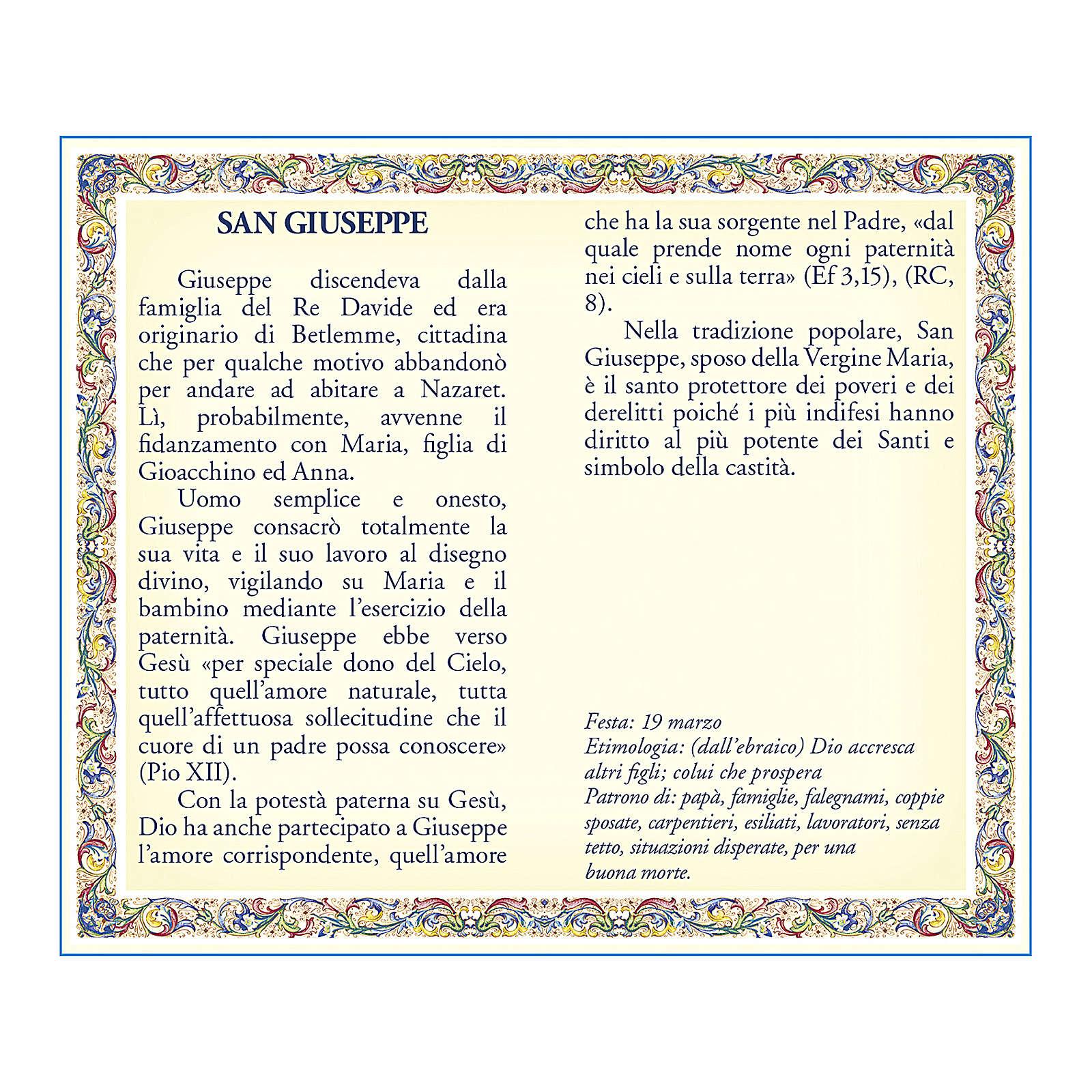 Medaglia Catenina Cartoncino San Giuseppe Preghiera ITA 4