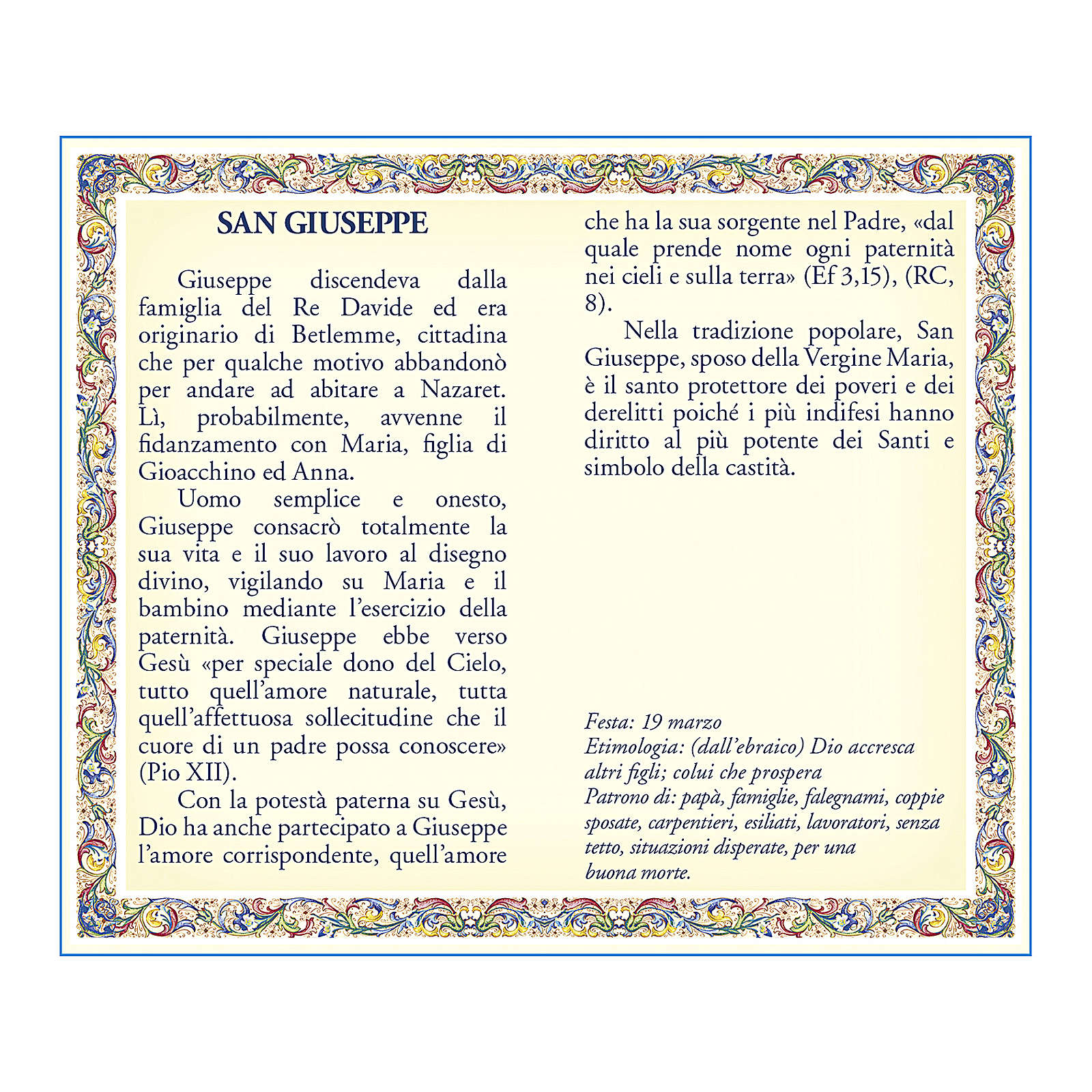 Saint Joseph medal with chain and card with prayer in ITALIAN 4