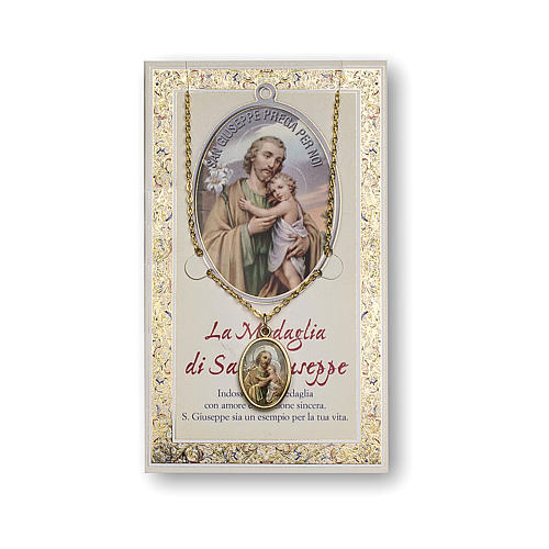 Saint Joseph medal with chain and card with prayer in ITALIAN 1