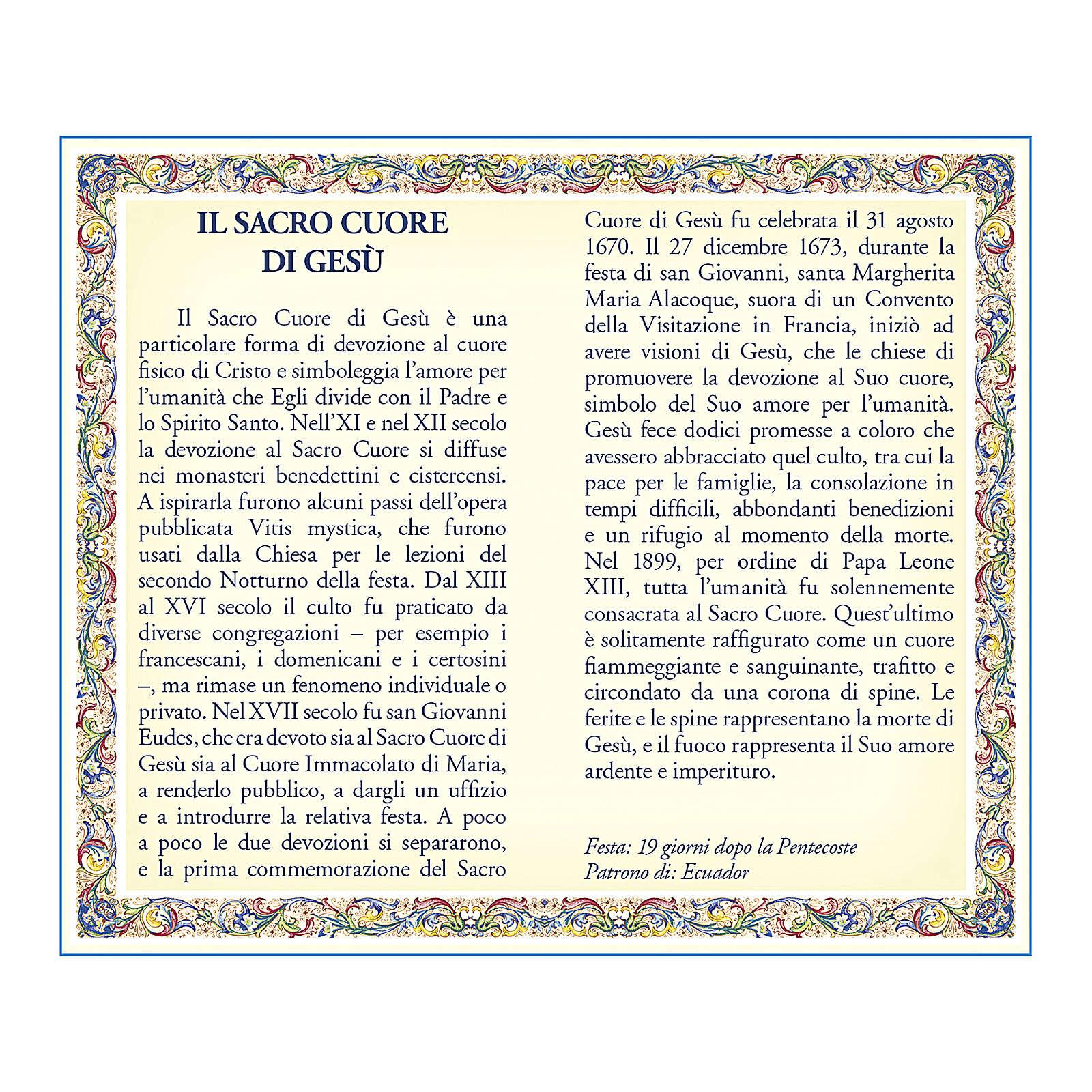 Medalla Cadena Cartulina Sagrado Corazón de Jesús Oración ITA 4