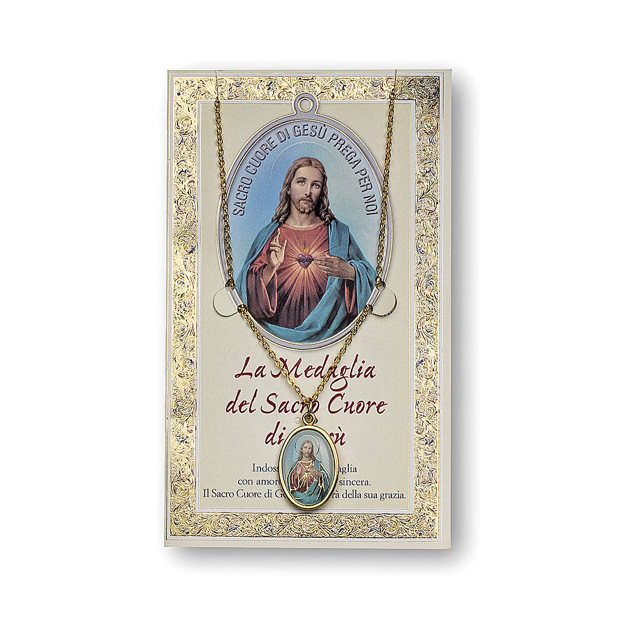 The Sacred Heart of Jesus medal with chain and card with prayer in ITALIAN 4