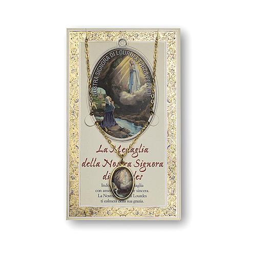 Médaille Chaîne Carte Notre-Dame de Lourdes Neuvaine ITA 1