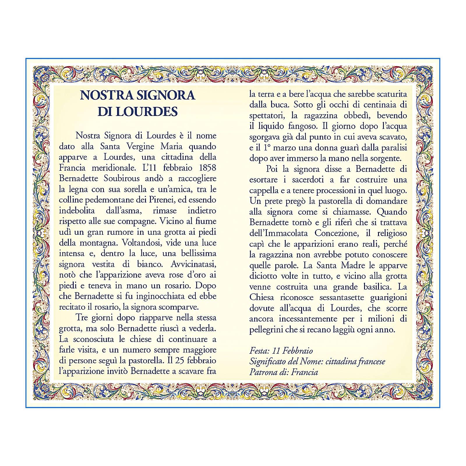 Medaglia Catenina Cartoncino Madonna di Lourdes Novena ITA 4