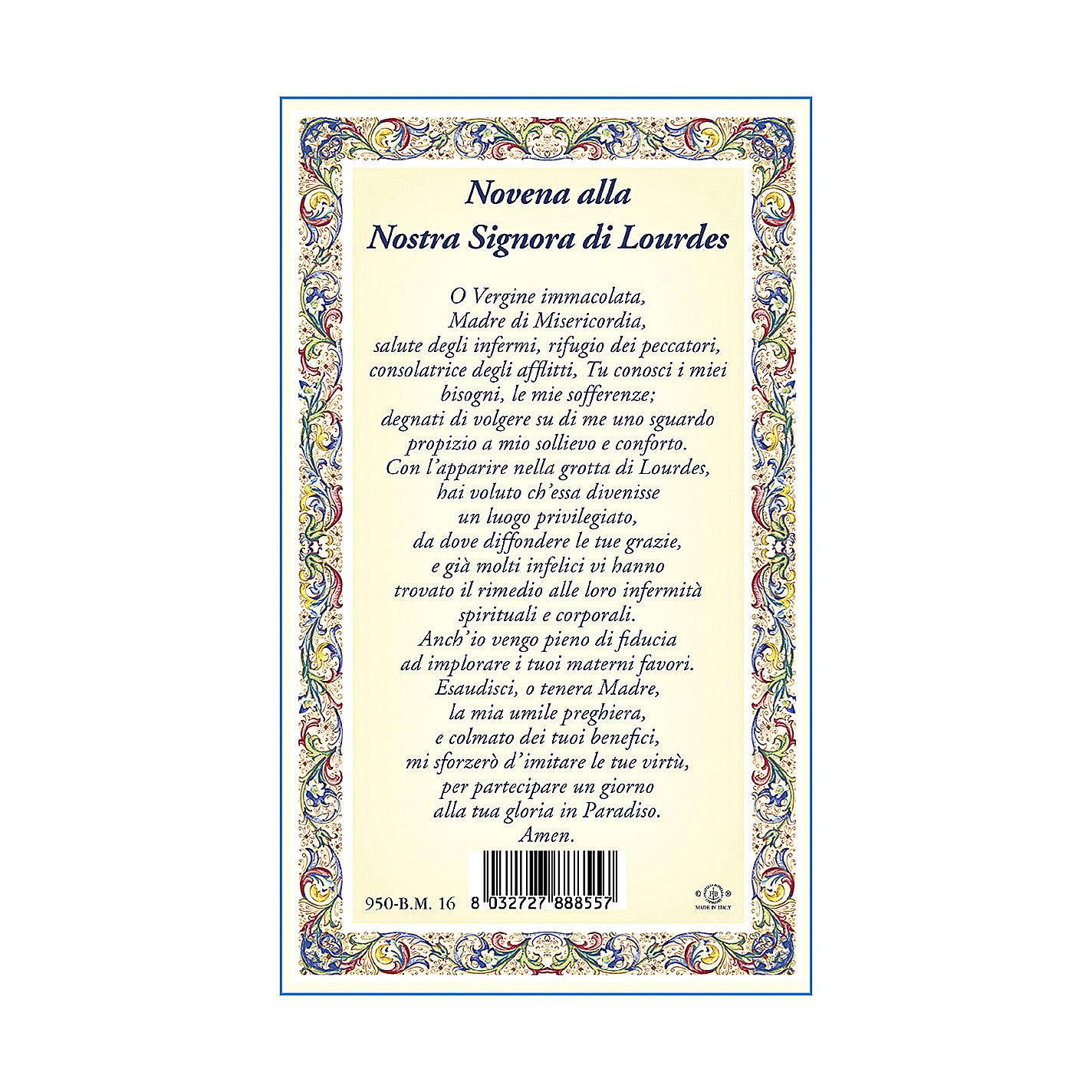 Our Lady of Lourdes medal with chain and card with Novena to Our Lady of Lourdes prayer in ITALIAN 4