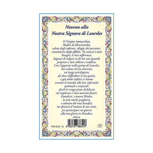 Our Lady of Lourdes medal with chain and card with Novena to Our Lady of Lourdes prayer in ITALIAN 3