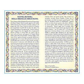 Medalla Cadena Cartulina Virgen Milagrosa Oración ITA s2