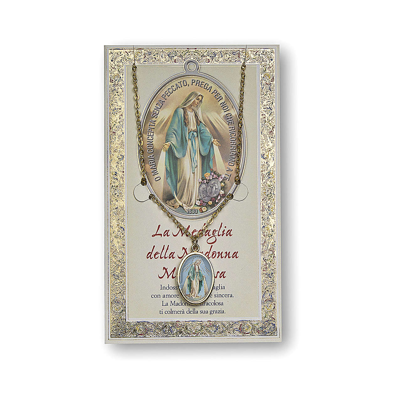 Our Lady of Miracles medal with chain and card with prayer in ITALIAN 4