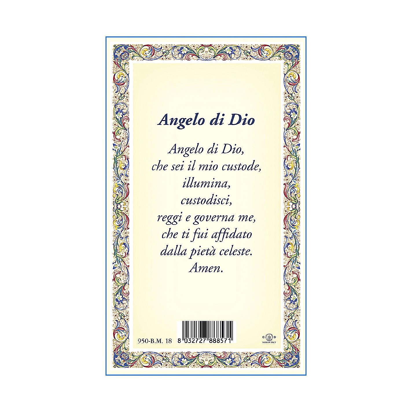 Medalla Cadena Cartulina Ángel de la Guarda Ángel de Dios ITA 4