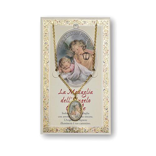 Médaille Chaîne Carte petit Ange Gardien Ange de Dieu ITA 1