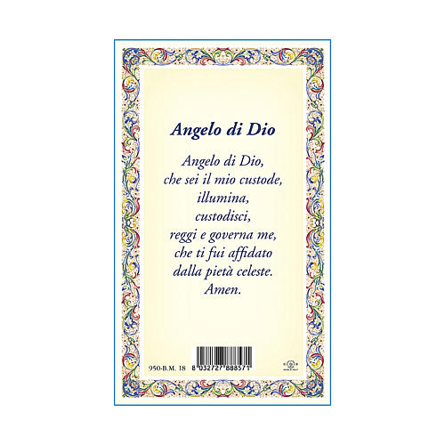 Médaille Chaîne Carte petit Ange Gardien Ange de Dieu ITA 3