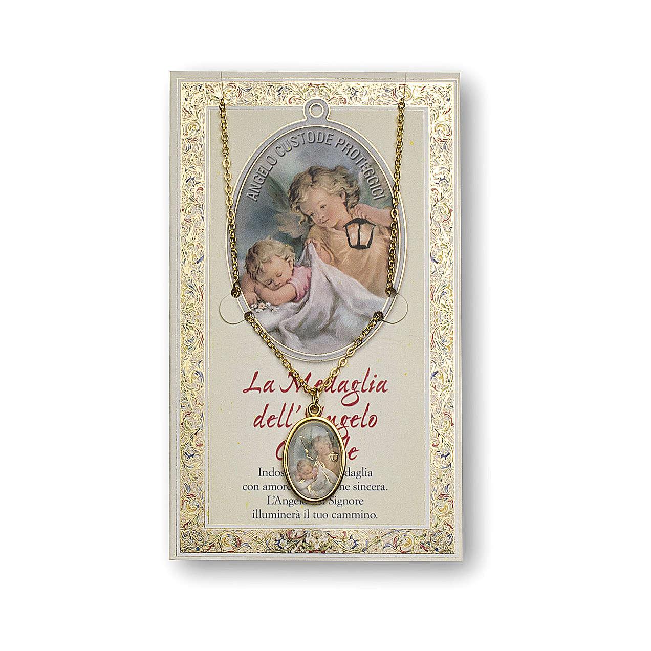 Medaglia Catenina Cartoncino Angelo Custode Angelo di Dio ITA 4