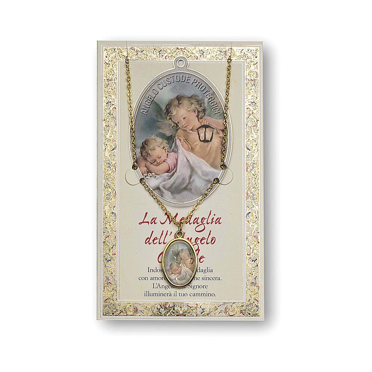 Guardian Angel medal with chain and Angel of God prayer card, ITALIAN 4