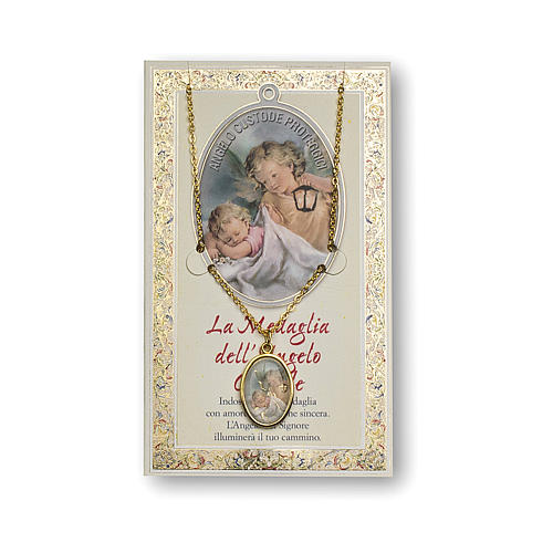 Guardian Angel medal with chain and Angel of God prayer card, ITALIAN 1