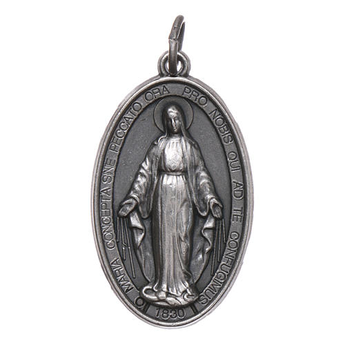 Our Lady of Miracles medal in silver metal 28 mm 1
