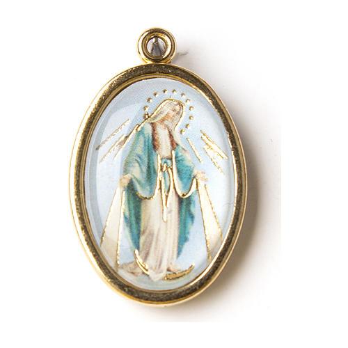 Medalla Dorada con imagen Resinada Virgen Milagrosa 1