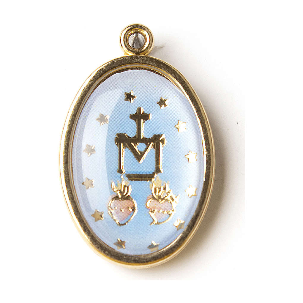 Our Lady of Miracles medal in golden silver with resin image 4