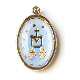 Our Lady of Miracles medal in golden silver with resin image s1