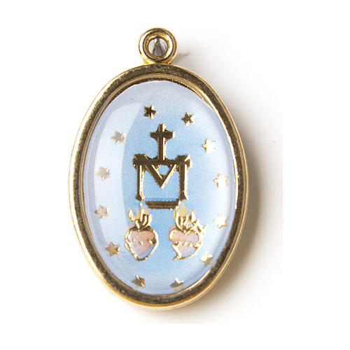 Our Lady of Miracles medal in golden silver with resin image 1