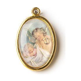 Médaille dorée avec image résinée Ange avec lanterne s1