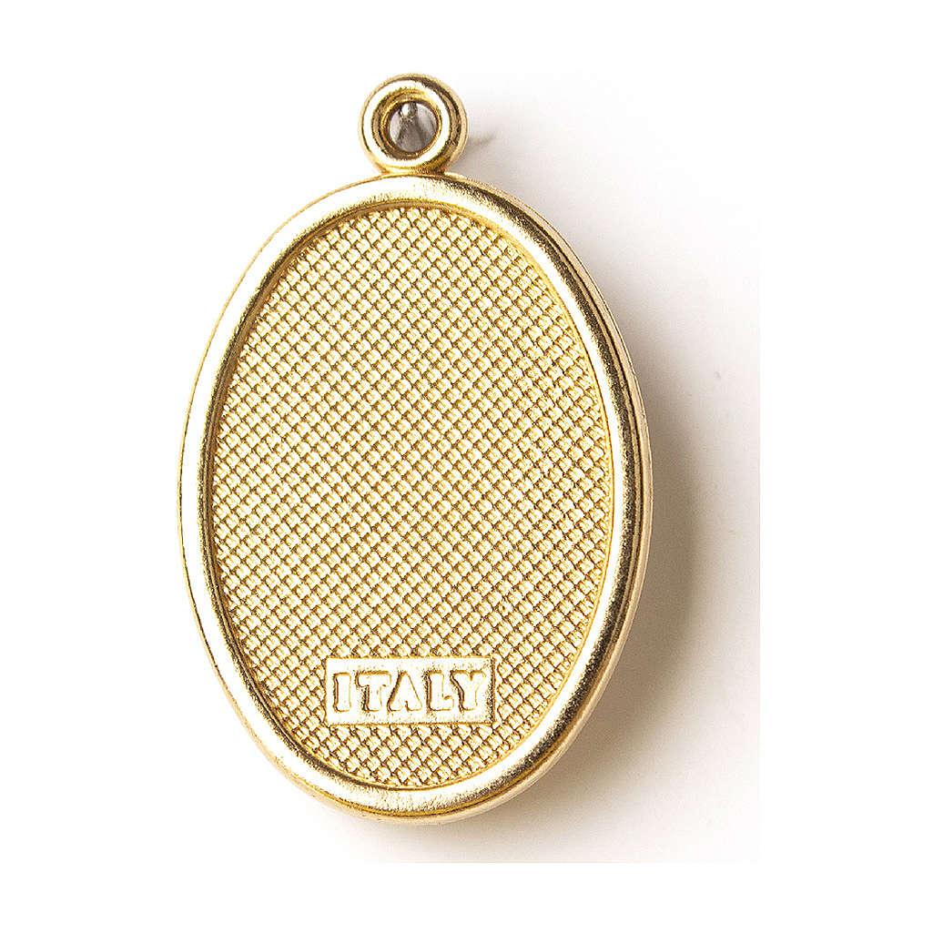 Médaille dorée avec image résinée Notre-Dame de Lourdes 4