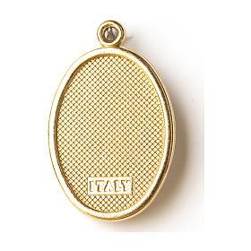 Médaille dorée avec image résinée Notre-Dame de Lourdes s2