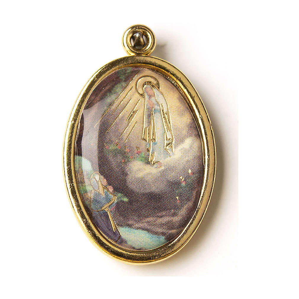 Golden medal with resin image of Our Lady of Lourdes 4
