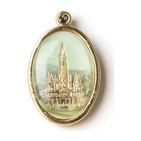 Golden medal with resin image of the Sanctuary of Lourdes s1