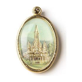 Medalla Dorada con imagen Resinada Santuario de Lourdes s1