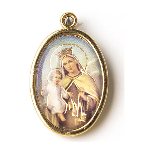 Our Lady of Mount Carmel medal in gold with resin image 1