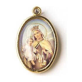 Medalha dourada com imagem resina Nossa Senhora do Carmo s1