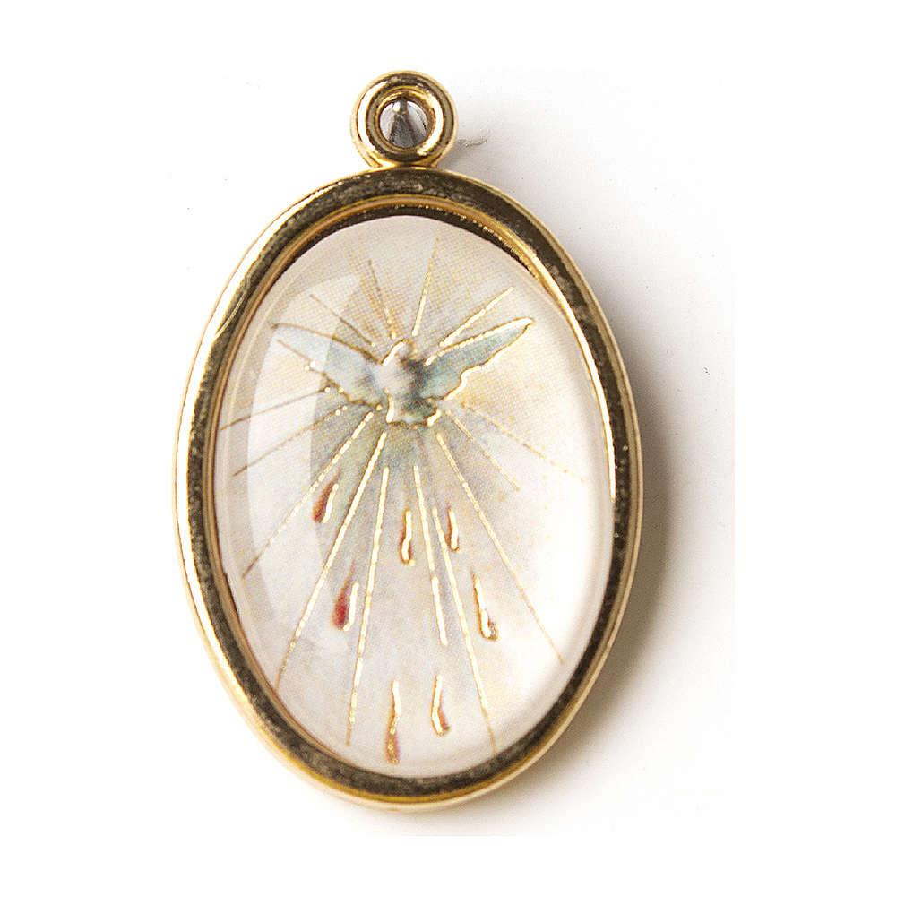 Médaille dorée avec image résinée Confirmation St Esprit 4