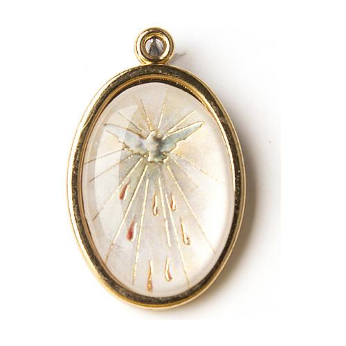 Médaille dorée avec image résinée Confirmation St Esprit 1